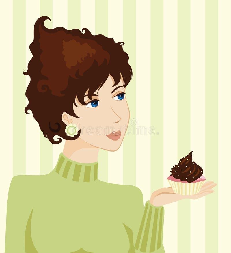 Mujer y torta ilustración del vector