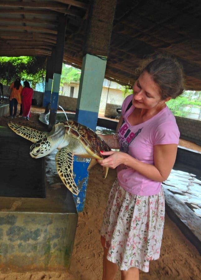 Mujer y tortuga en granja de la tortuga imagenes de archivo