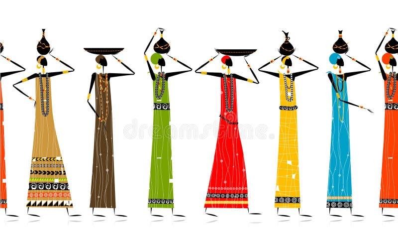 Mujeres étnicas con los jarros, fondo inconsútil stock de ilustración
