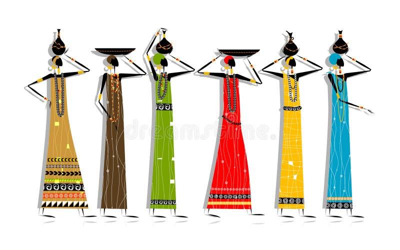 Mujeres étnicas con los jarros para su diseño libre illustration