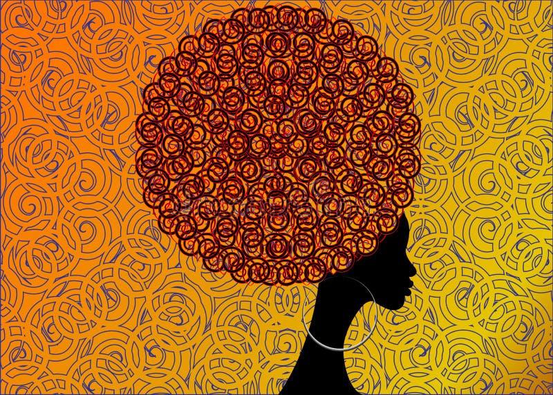 Mujeres africanas del retrato, cara femenina de la piel oscura con los pendientes tradicionales afro y étnicos del pelo encendido ilustración del vector