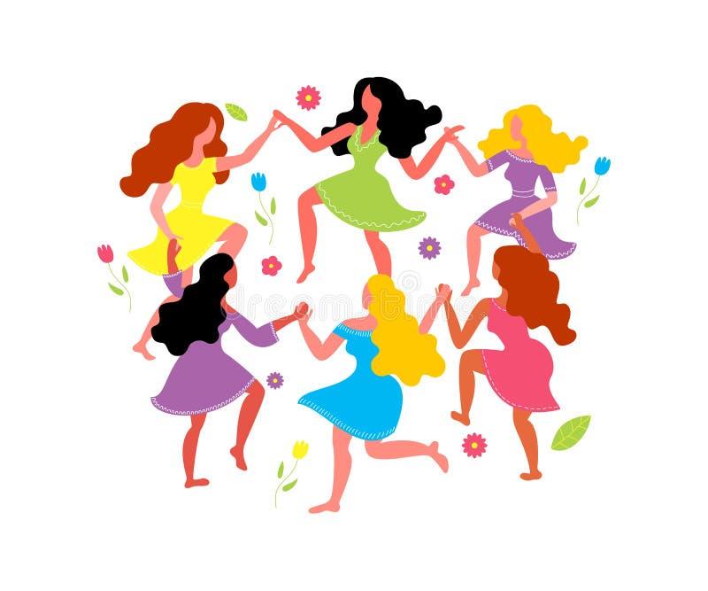Mujeres alrededor de la danza y de las flores Las mujeres bailan en los círculos, llevando a cabo las manos ilustración del vector