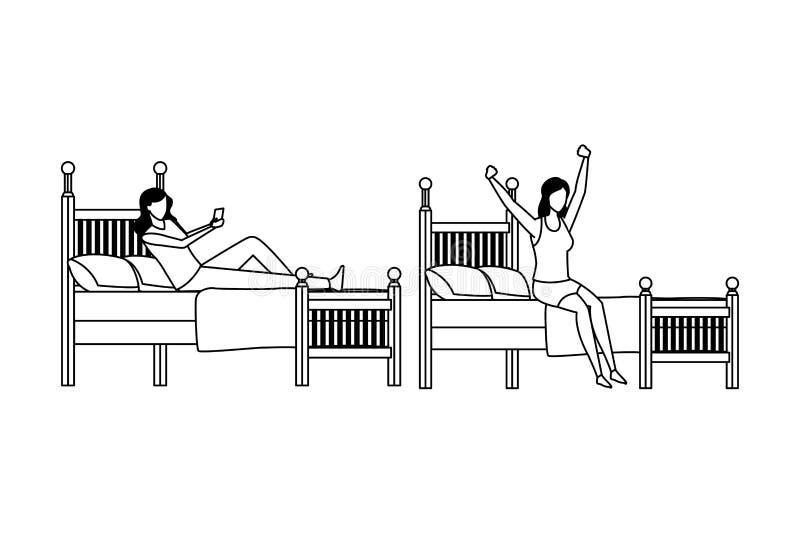 Mujeres anónimas del dormitorio gemelo en blanco y negro stock de ilustración