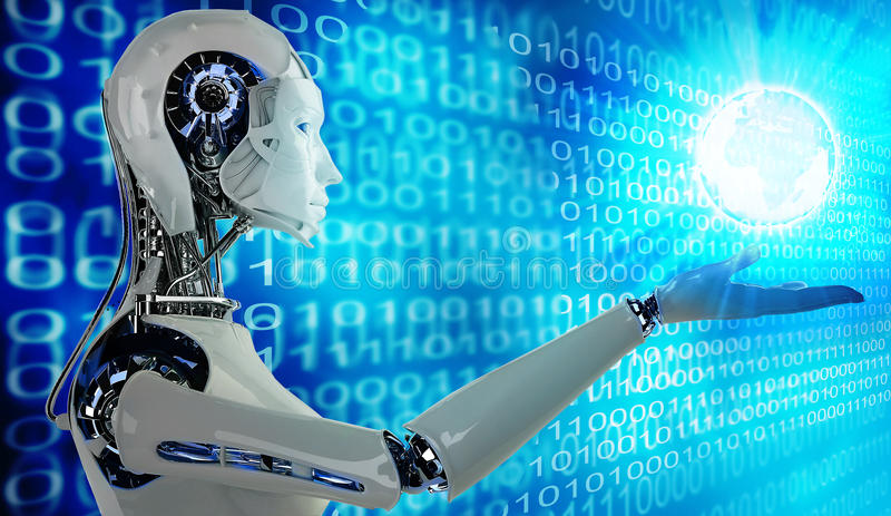 Mujeres androides del robot con la luz libre illustration