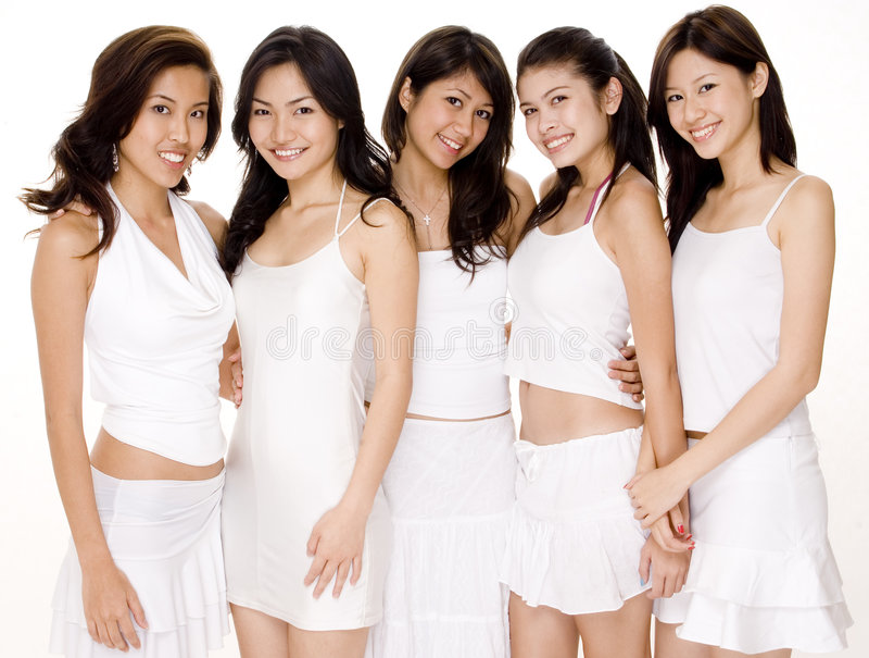 Mujeres asiáticas en #3 blanco imagen de archivo