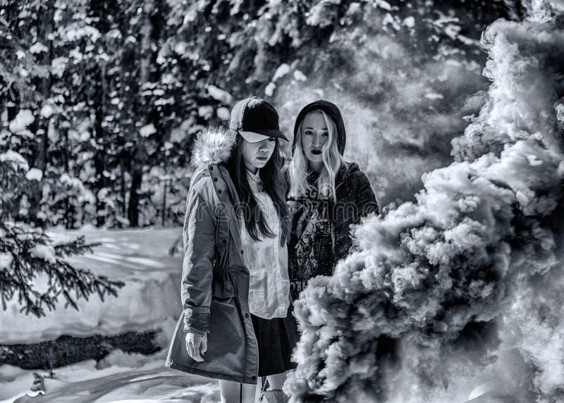 Mujeres atractivas con las granadas de humo coloridas fotografía de archivo libre de regalías