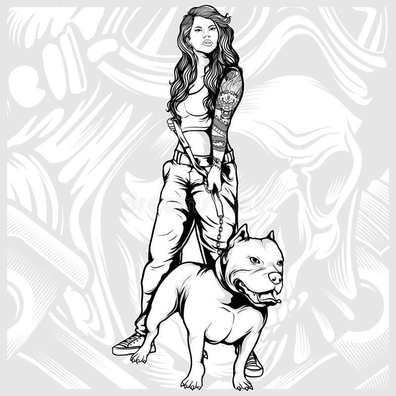 Mujeres atractivas con vector del dibujo de la mano del pitbull ilustración del vector