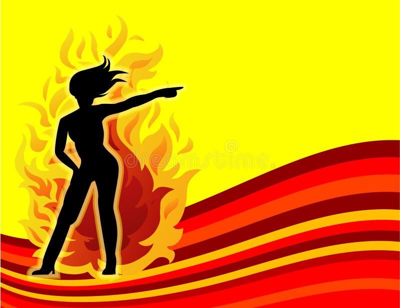 Mujeres calientes en el fuego stock de ilustración