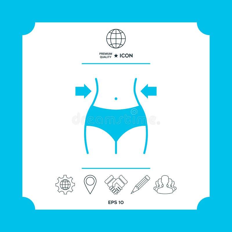Mujeres cintura, pérdida de peso, dieta, icono de la cintura libre illustration