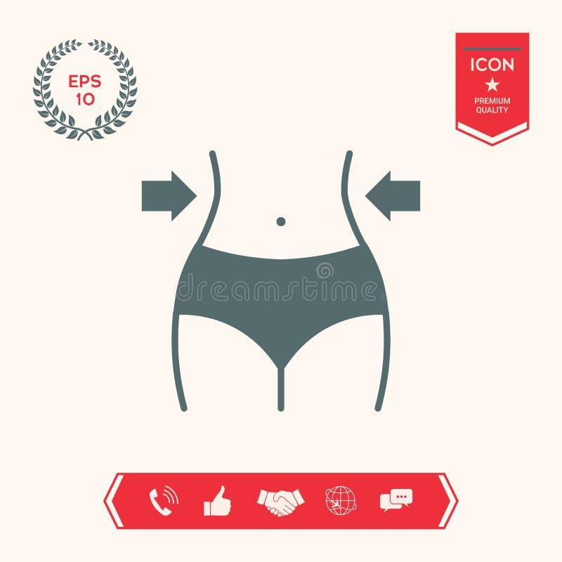Mujeres cintura, pérdida de peso, dieta, icono de la cintura ilustración del vector