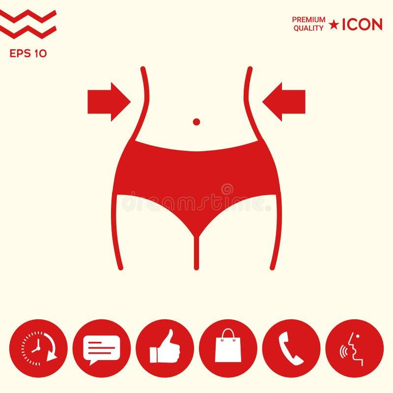 Mujeres cintura, pérdida de peso, dieta, icono de la cintura stock de ilustración