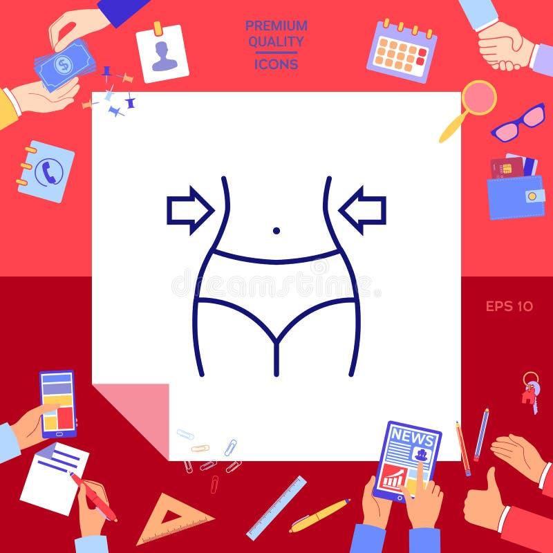 Mujeres cintura, pérdida de peso, dieta, línea icono de la cintura stock de ilustración