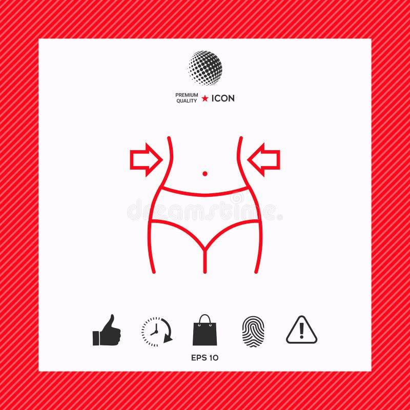 Mujeres cintura, pérdida de peso, dieta, línea icono de la cintura libre illustration
