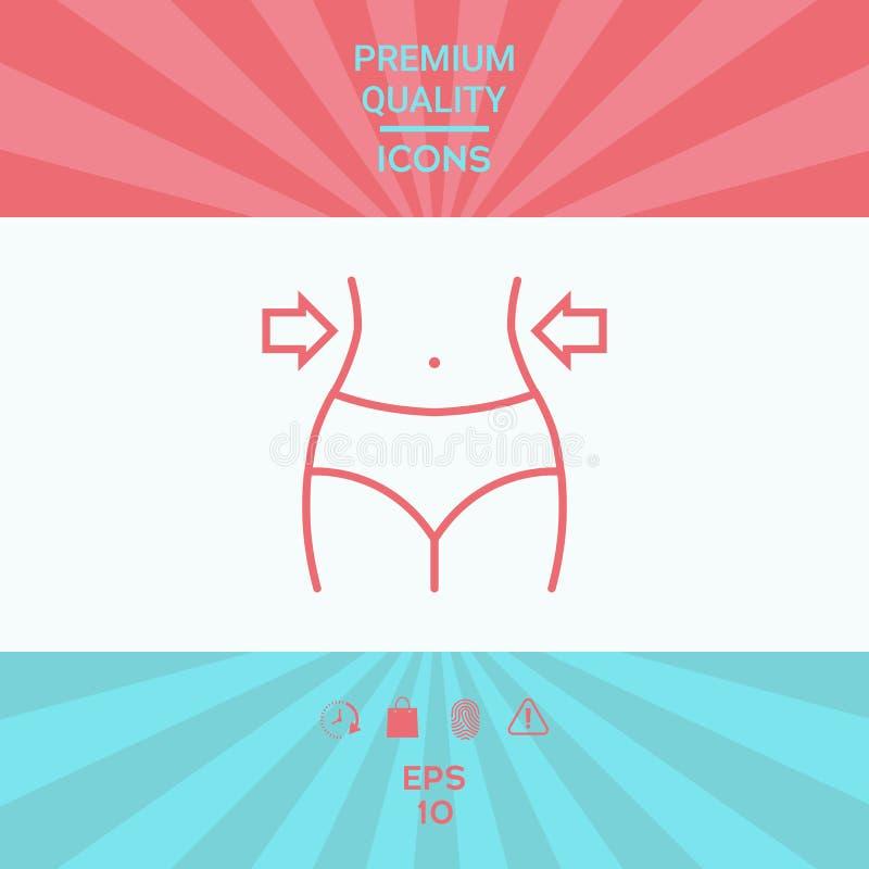 Mujeres cintura, pérdida de peso, dieta, línea icono de la cintura ilustración del vector