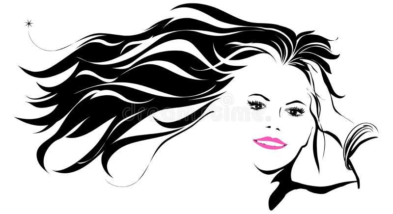 Mujeres con el pelo que sopla en el viento stock de ilustración