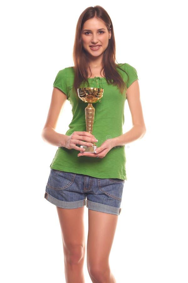 Mujeres con el premio aislado en blanco imagen de archivo