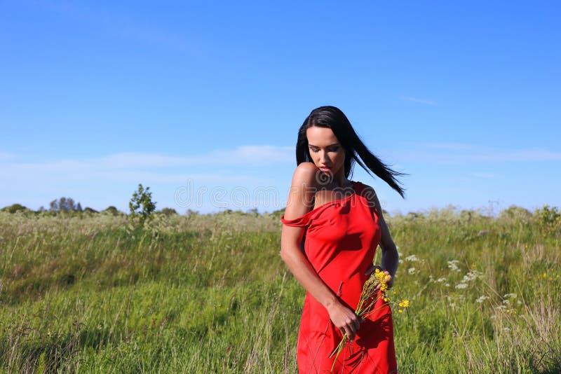 Mujeres con la flor que se relaja en el prado foto de archivo libre de regalías