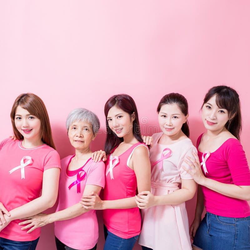 Mujeres con la prevención del cáncer de pecho foto de archivo