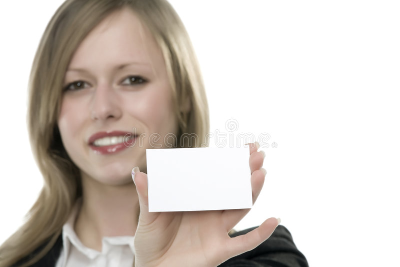 Mujeres con la tarjeta de visita a disposición fotos de archivo libres de regalías