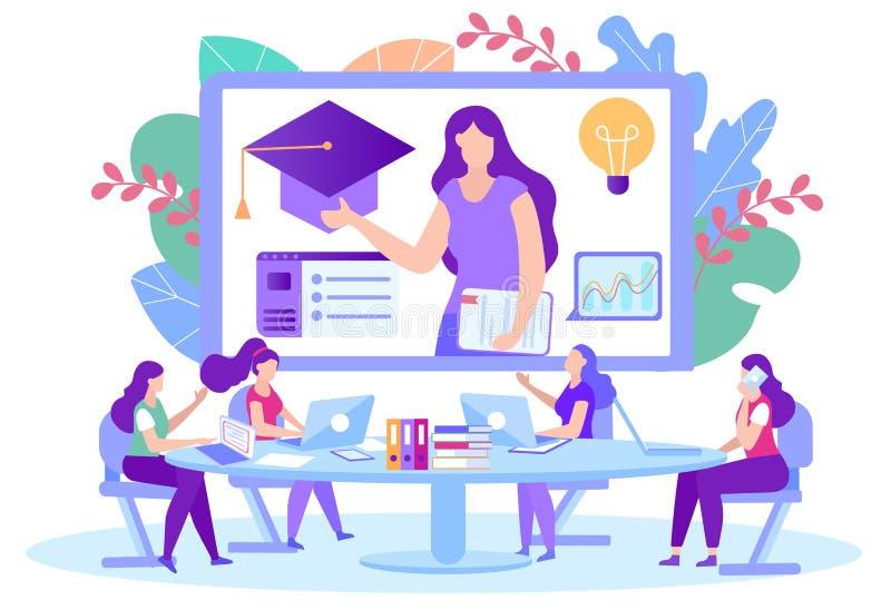 Mujeres con laptops sentadas en el monitor frontal de la mesa libre illustration