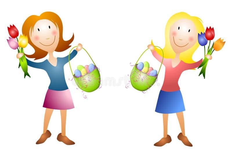 Mujeres con las cestas y los tulipanes de Pascua stock de ilustración