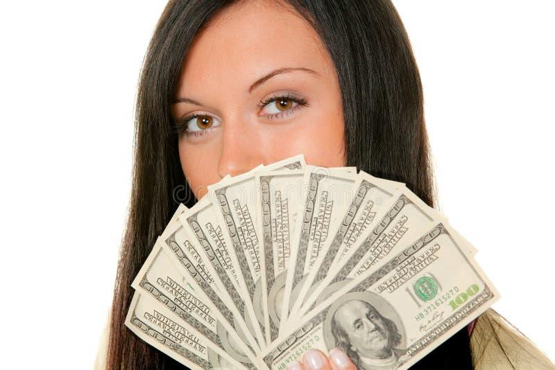 Mujeres con las cuentas de dólar fotos de archivo