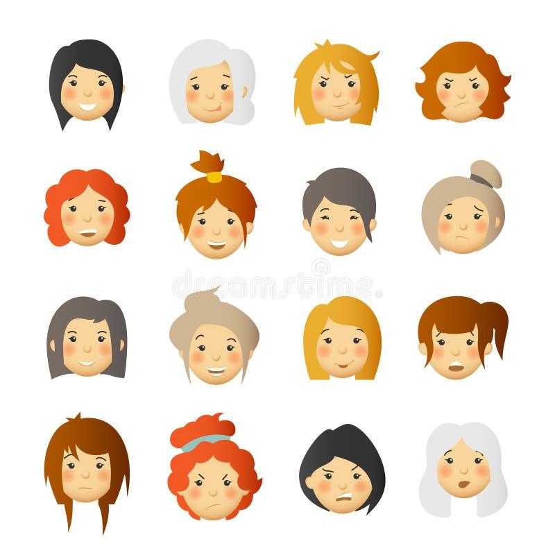 Mujeres con las mejillas atractivas Avatares y emoticons del vector fijados ilustración del vector