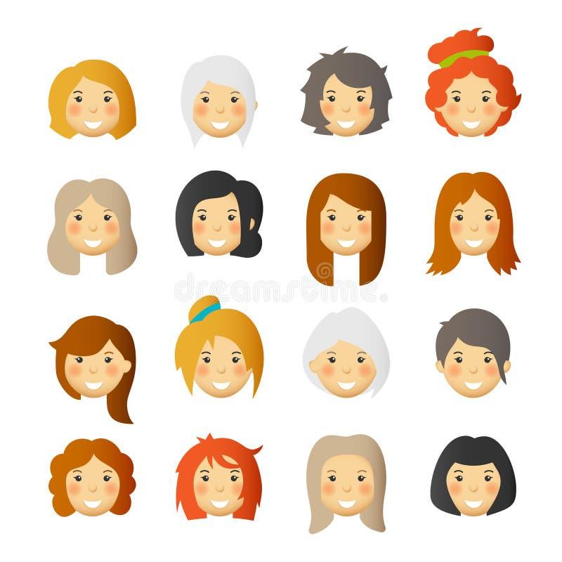 Mujeres con las mejillas atractivas Avatares y emoticons del vector fijados stock de ilustración