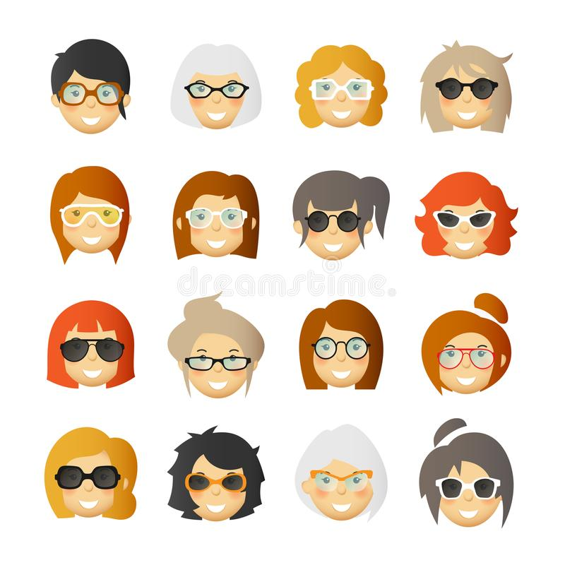 Mujeres con las mejillas atractivas en vidrios y gafas de sol Avatares del vector fijados ilustración del vector