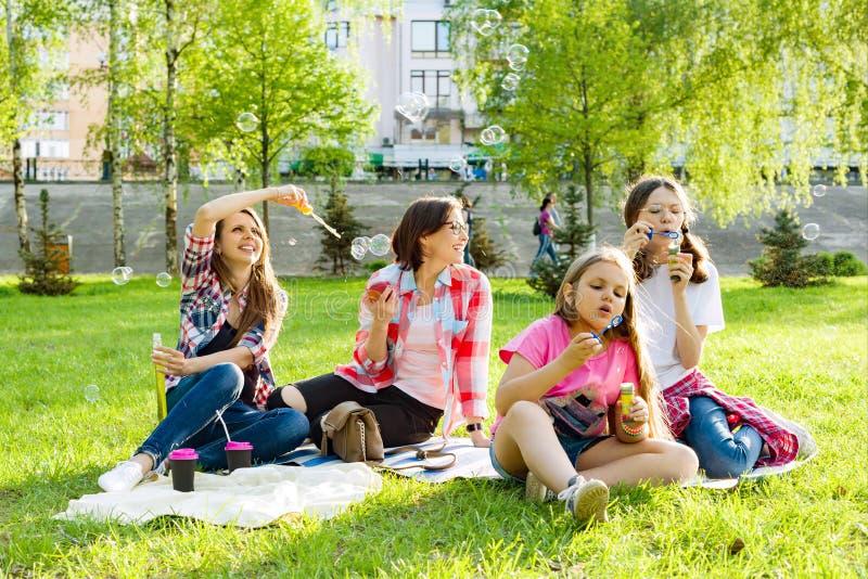 Mujeres con los niños en la puesta del sol que descansa en el parque, comida campestre, burbujas de jabón imágenes de archivo libres de regalías