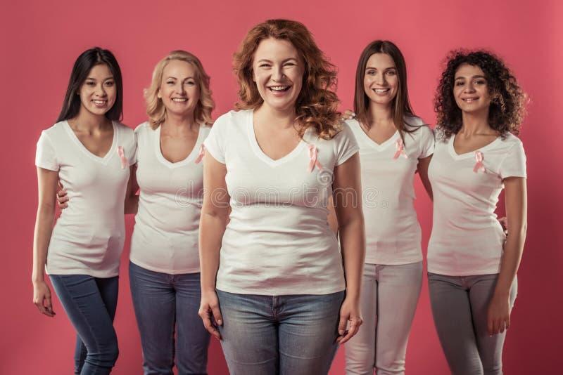 Mujeres contra cáncer de pecho fotografía de archivo