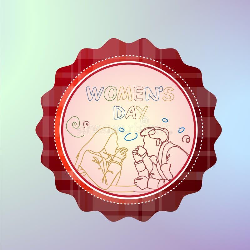 Mujeres día insignia bandera internacional del día de fiesta del 8 de marzo con los pares de la silueta que celebran stock de ilustración