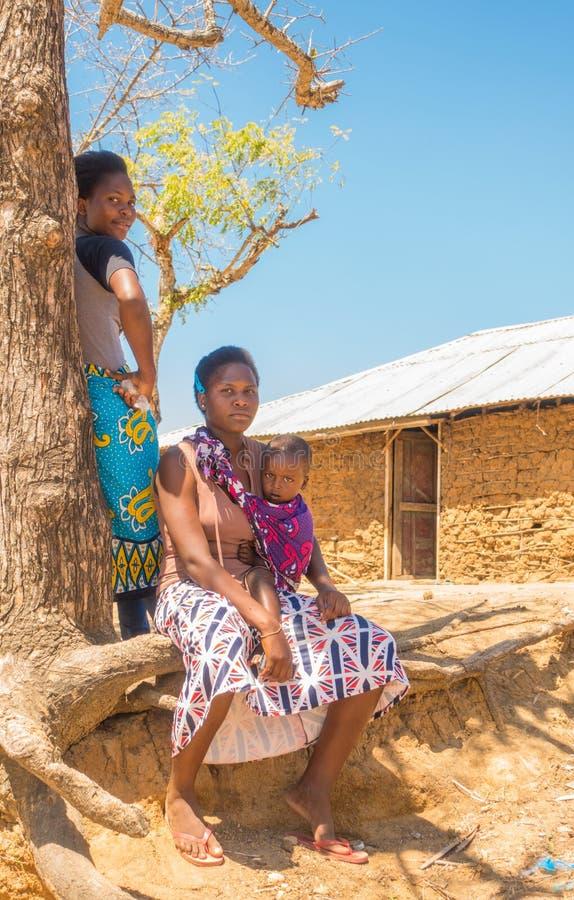 Mujeres de Giriama con el bebé en el árbol foto de archivo