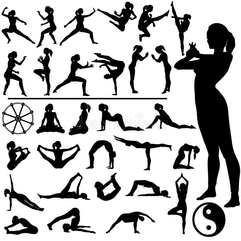 Mujeres de la aptitud - artes marciales y yoga ilustración del vector
