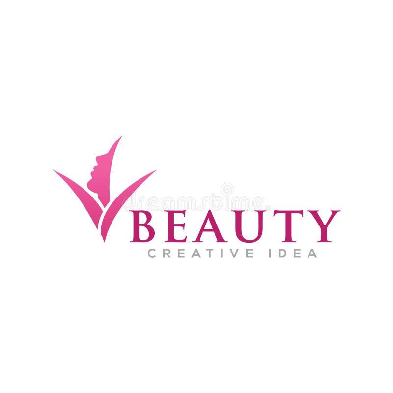 Mujeres de la belleza con la plantilla del logotipo de la naturaleza de la hoja libre illustration