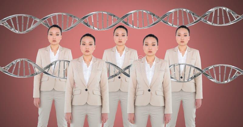 Mujeres de la copia con la DNA genética foto de archivo