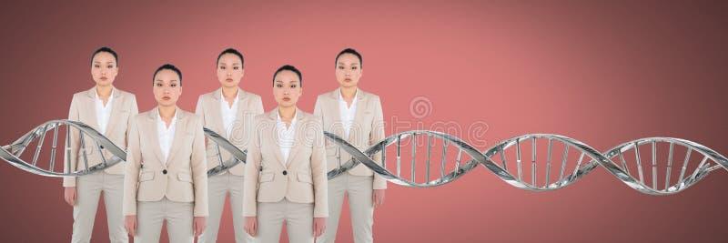Mujeres de la copia con la DNA genética imagen de archivo libre de regalías