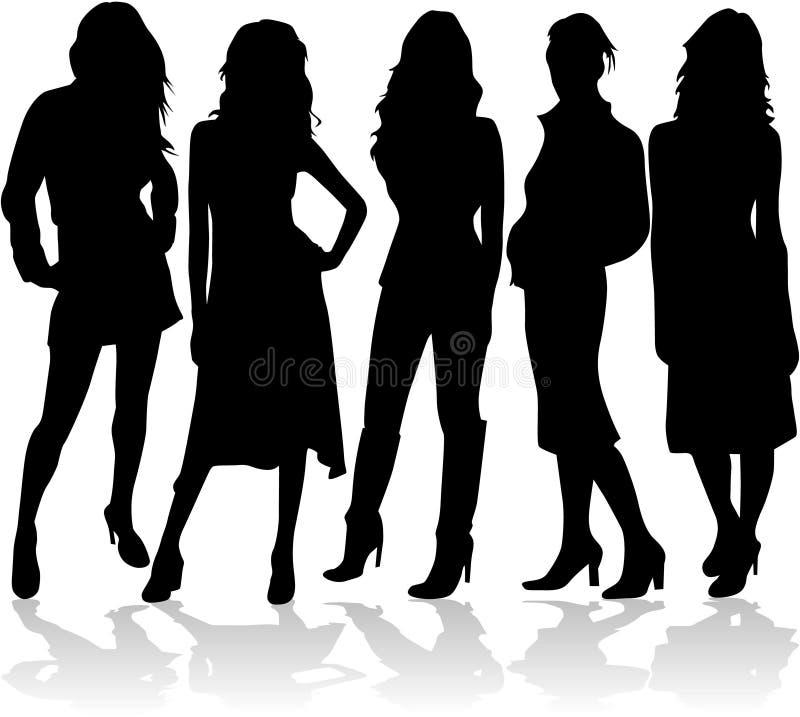 Mujeres de la manera 5 siluetas   libre illustration