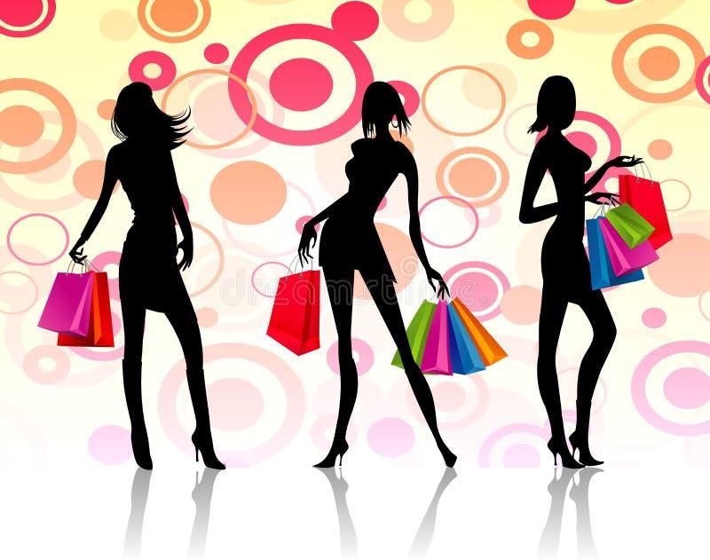 Mujeres de las compras stock de ilustración