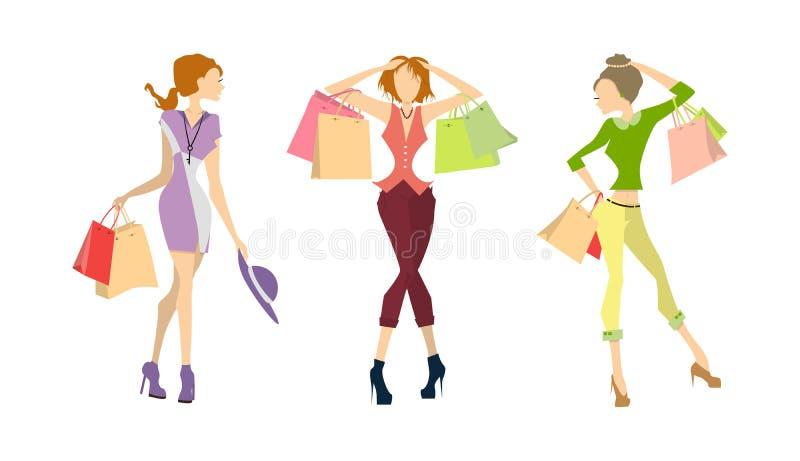 Mujeres de las compras fijadas ilustración del vector