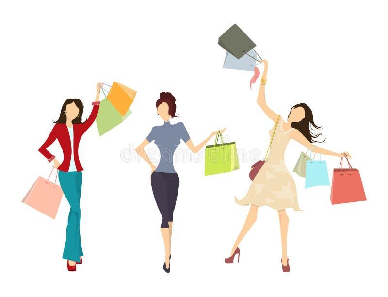 Mujeres de las compras fijadas libre illustration