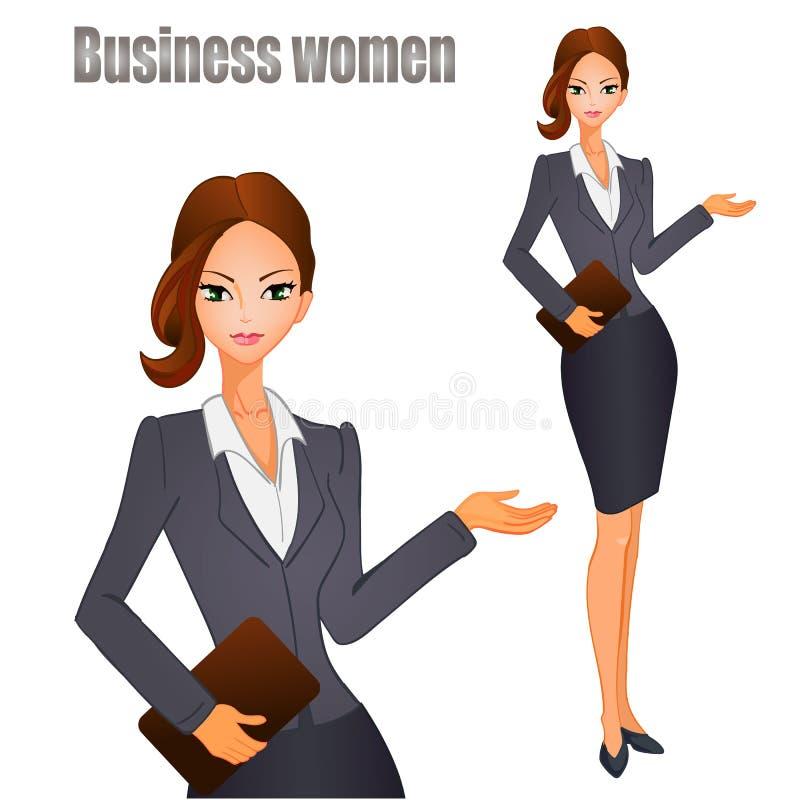 Mujeres de negocios con el pelo marrón Ilustración del vector ilustración del vector