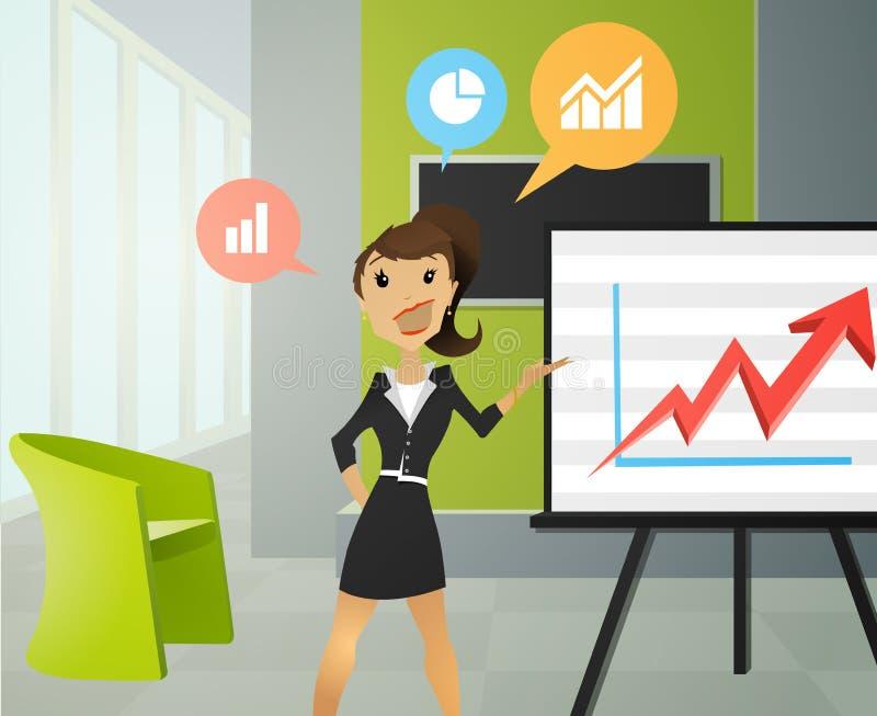 Mujeres de negocios que hacen una presentación en una oficina stock de ilustración