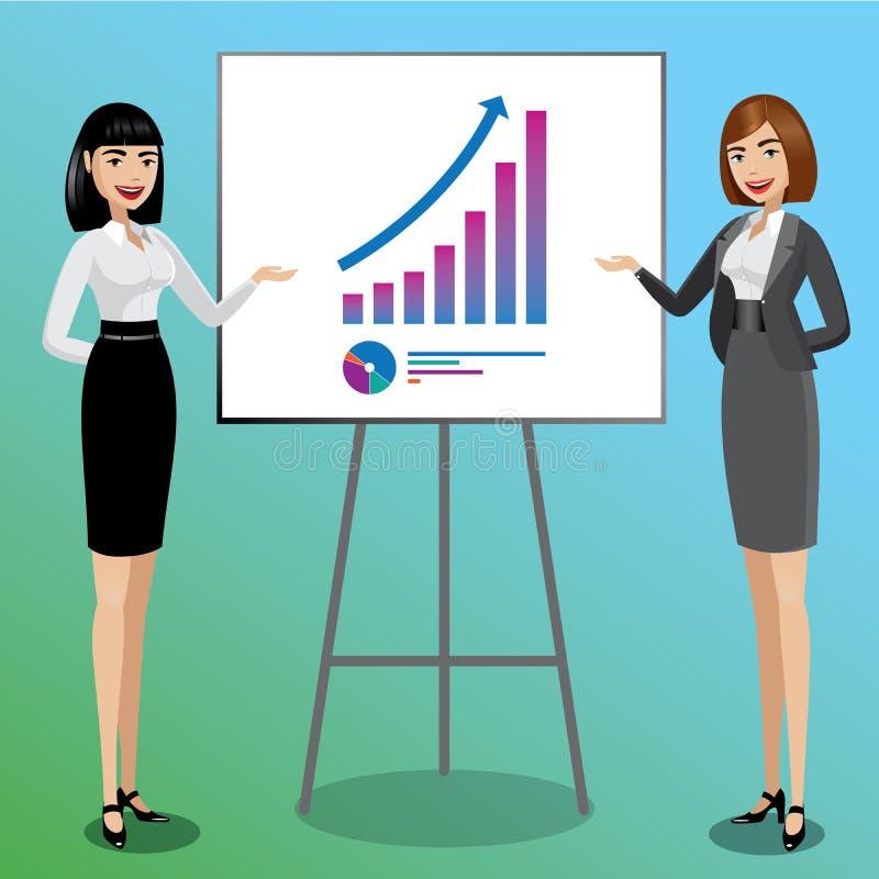 Mujeres de negocios que muestran gráficos stock de ilustración