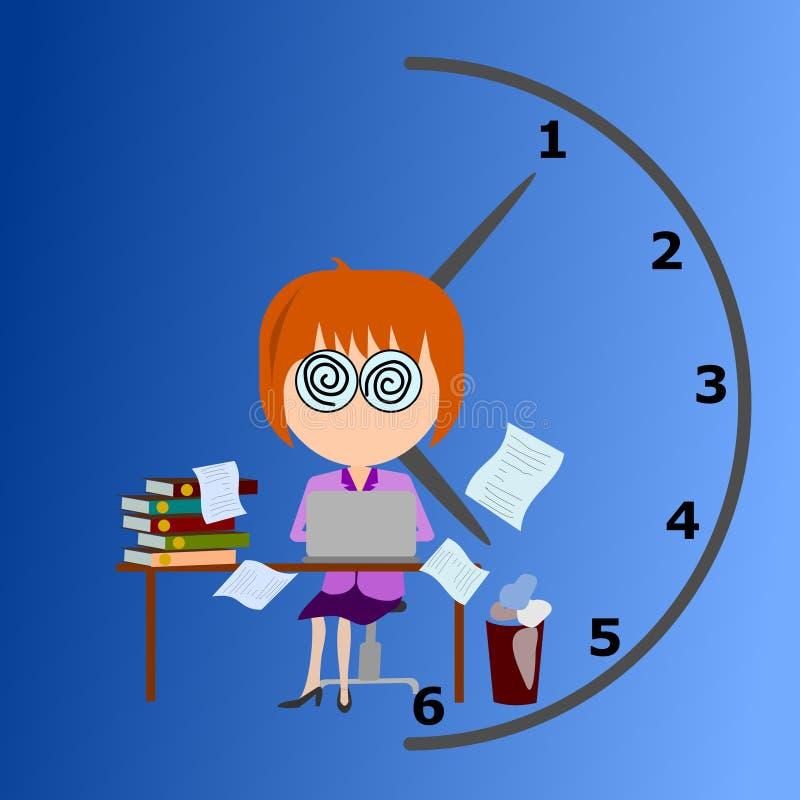 Mujeres de negocios que trabajan en vector ocupado del tiempo ilustración del vector