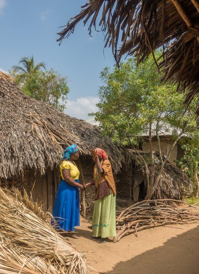 Mujeres de Pokomo que saludan en los hogares africanos tradicionales imágenes de archivo libres de regalías