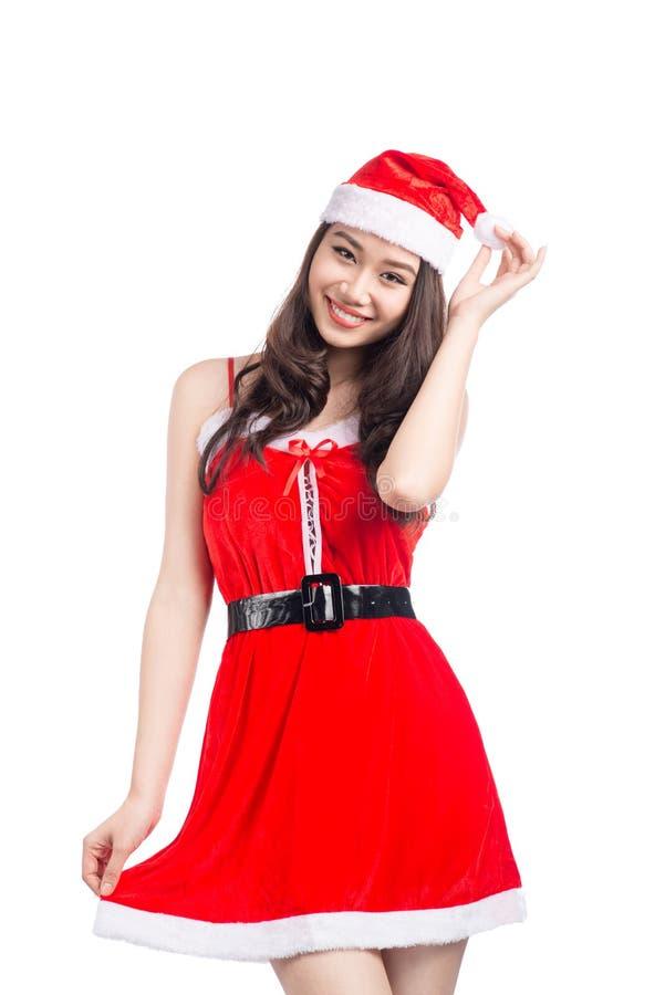 Mujeres de Santa con los bolsos Belleza Girl modelo asiático en el isolat de Santa Costume foto de archivo