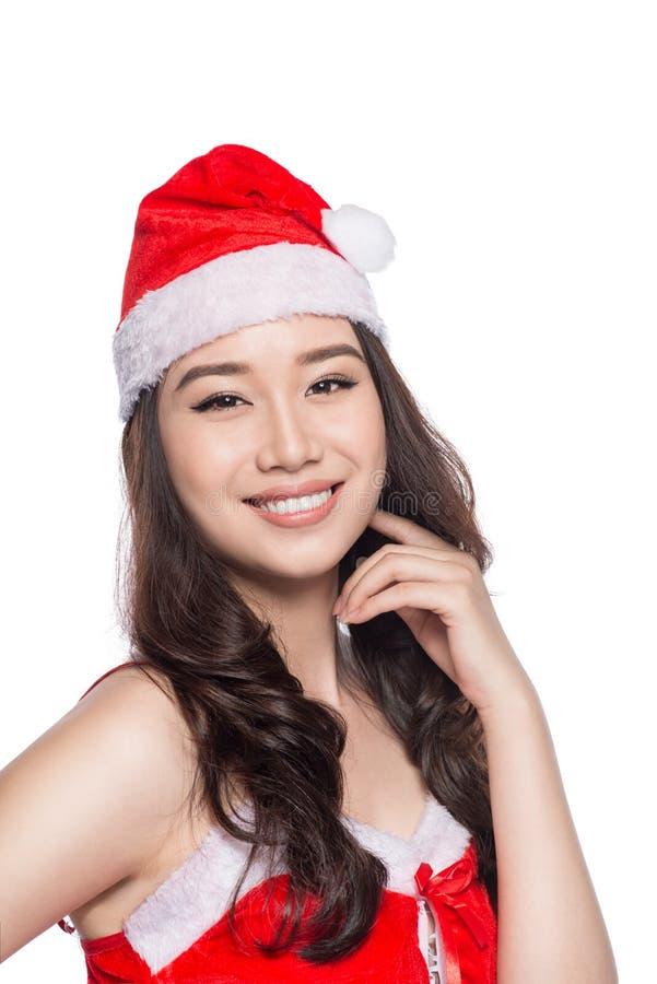 Mujeres de Santa con los bolsos Belleza Girl modelo asiático en Santa Hat o fotos de archivo libres de regalías