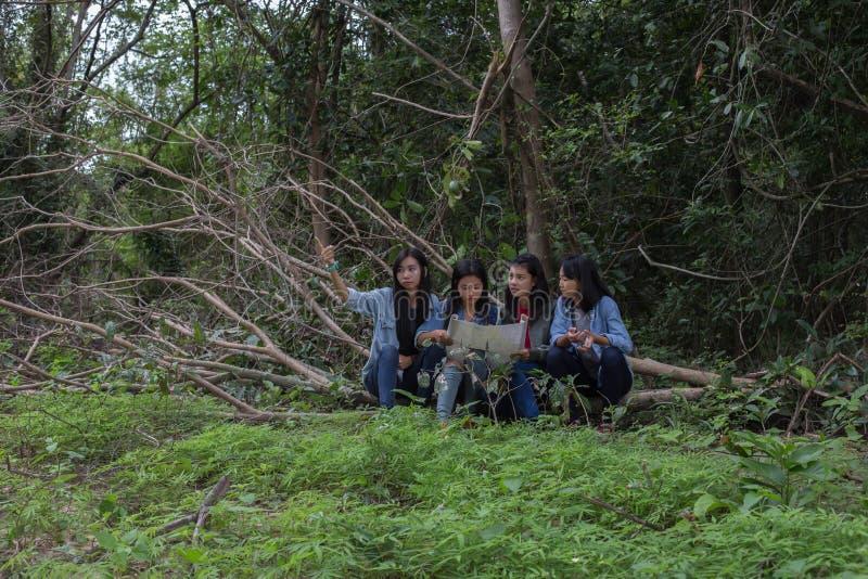 Mujeres del grupo de mujeres jovenes bondadosas en naturaleza fotografía de archivo libre de regalías