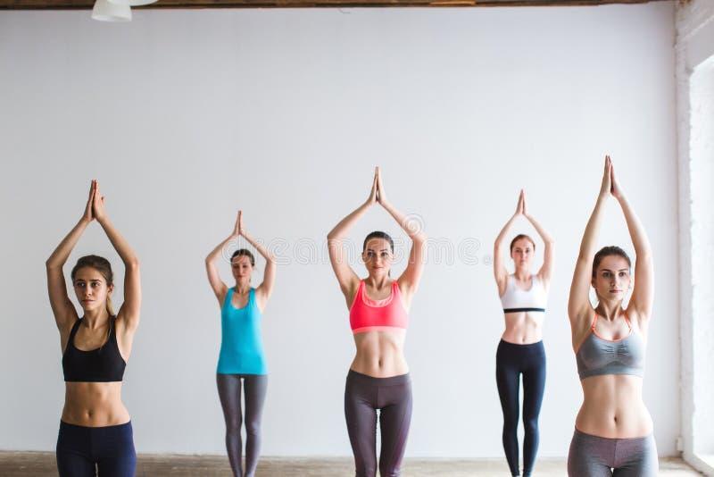 Mujeres del grupo que hacen yoga dentro imagen de archivo libre de regalías
